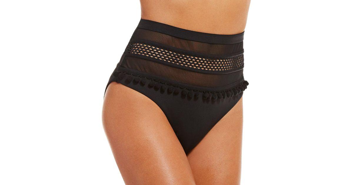 f7232f9fdcf17 Gianni Bini Fan Fav Solid Black Hi-waist Pom Mesh Swimsuit Bottoms in Black  - Lyst