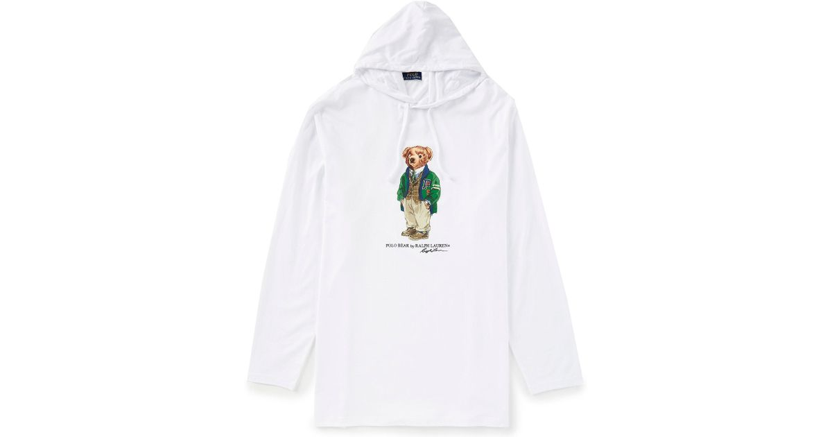 ac0c42656570e Polo Ralph Lauren Big   Tall Preppy Bear Long-sleeve Hoodie Tee in White  for Men - Lyst