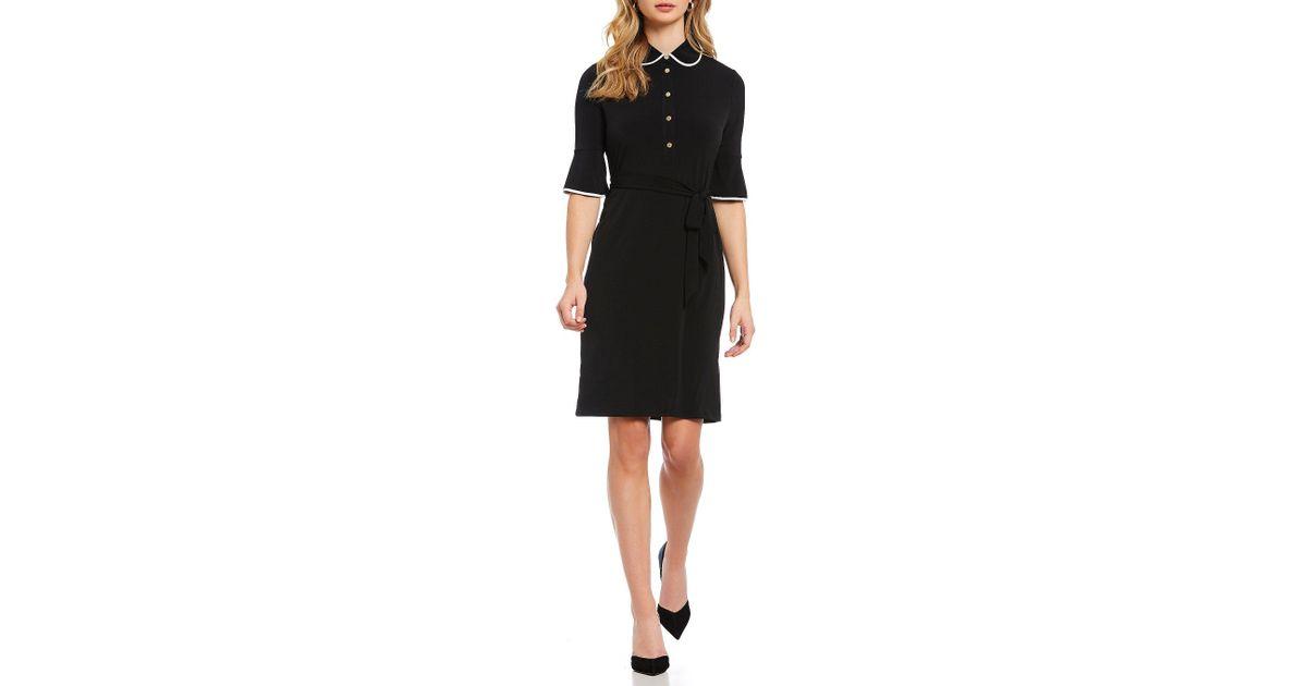 Ivanka Trump - Black Contrast Trim Matte Jersey Bell Sleeve Collared Button  Down Shirtdress - Lyst
