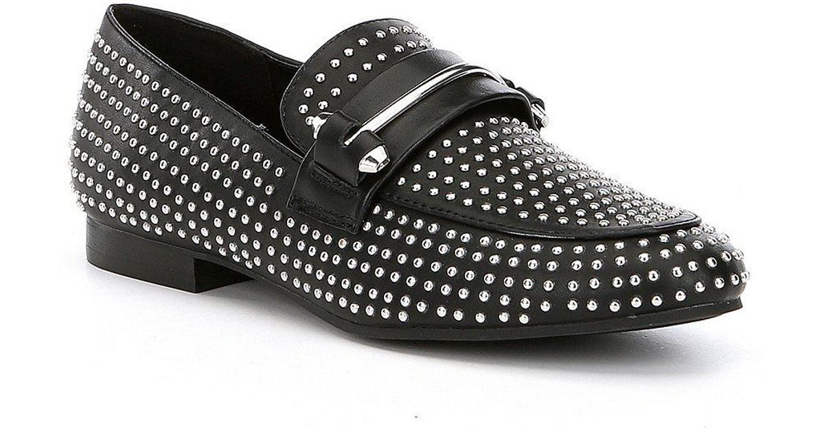 467b6a3e494 Lyst - Steve Madden Kast Studded Loafers in Black