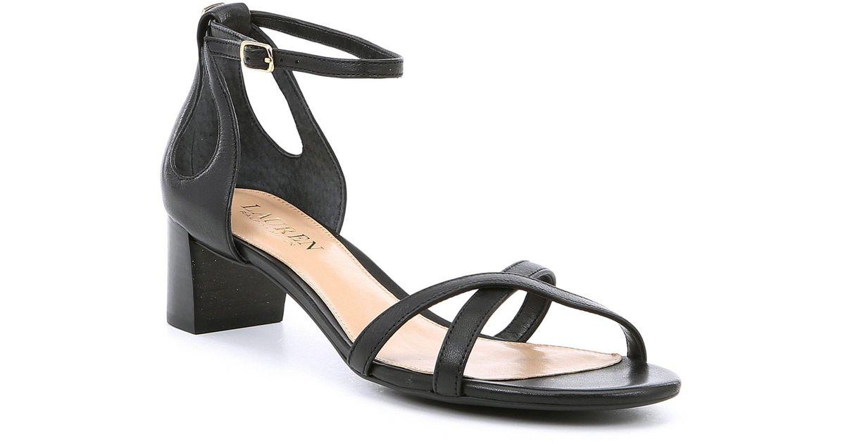 bc65c31c56a Lyst - Lauren by Ralph Lauren Folly Leather Block Heel Dress Sandals in  Black