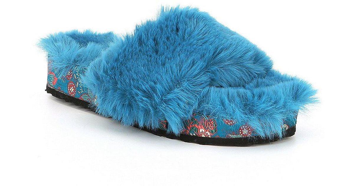 Gema Fuzzy Plush Faux Fur Slide Sandals 2bNm3