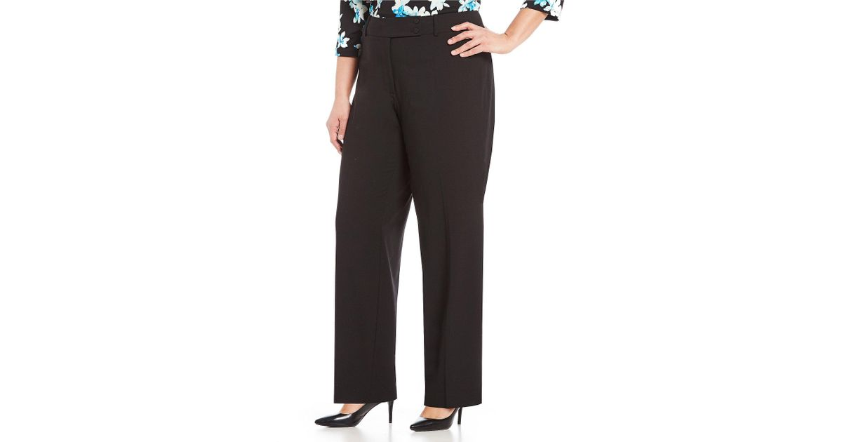 847a02ffda6ed Lyst - Calvin Klein Plus Curvy Fit Straight Leg Pants in Black