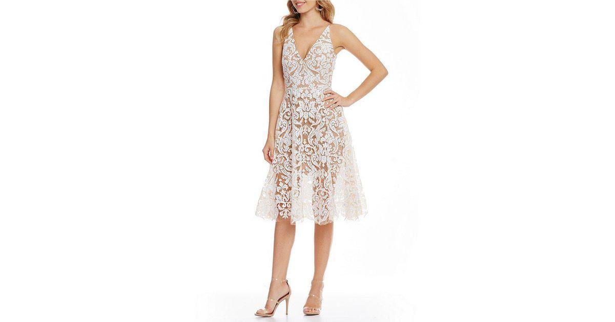 ab7688a0e29 Dress the Population Blair Deep V-neck Sequin Lace Midi Dress - Lyst