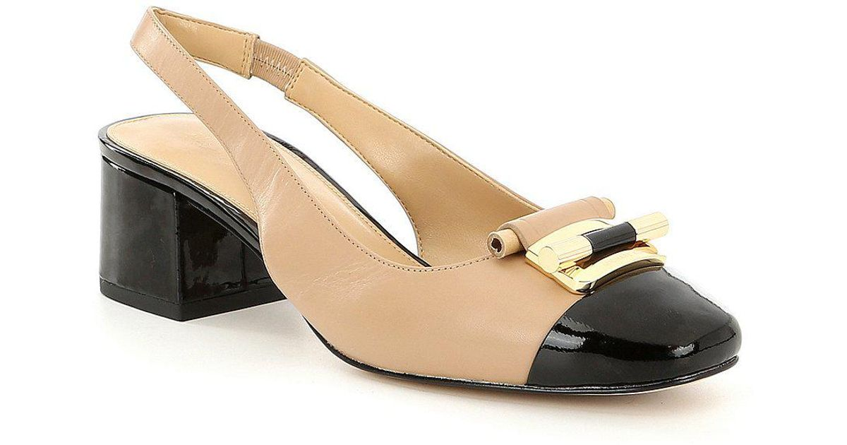 3f1821d8e082 Lyst - MICHAEL Michael Kors Gloria Toe Cap Sling Back Pumps in Black