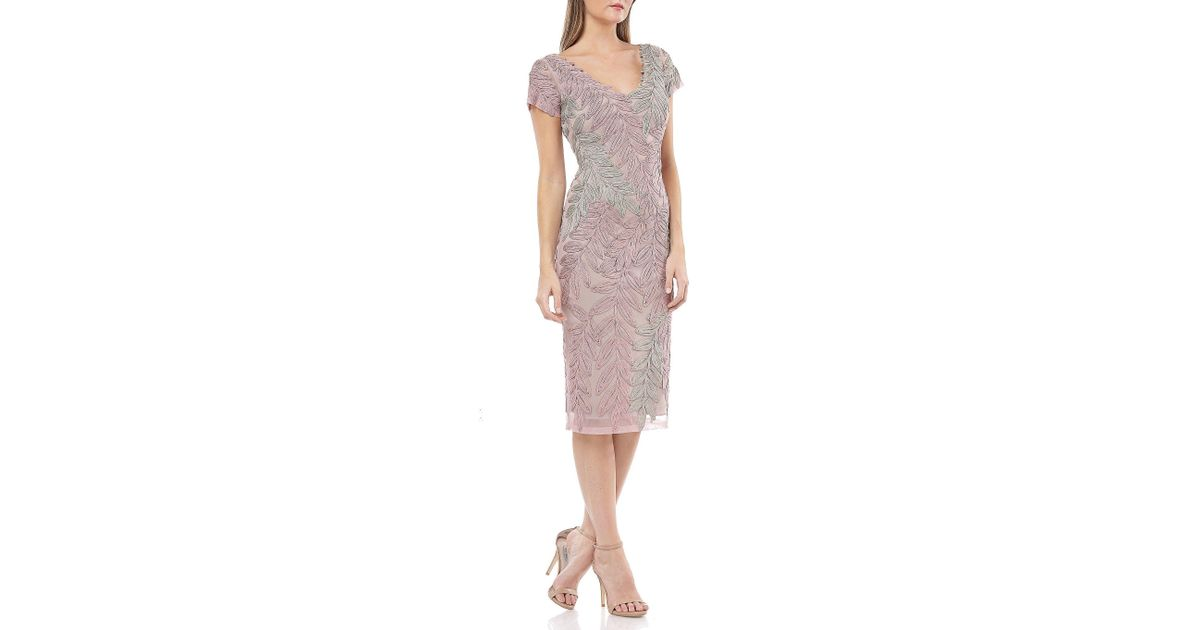 1f46da18 JS Collections Leaf Soutache V-neck Embroidered Short Sleeve Midi Length  Sheath Dress - Lyst