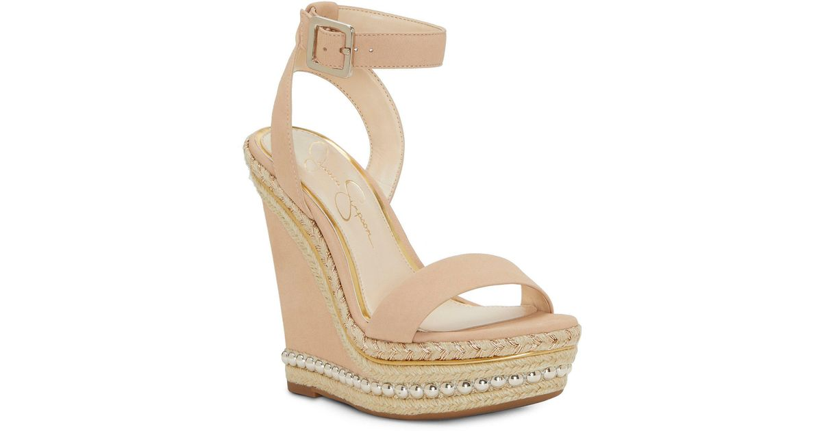 b182afe7ace1 Lyst - Jessica Simpson Avey Wedge in Natural