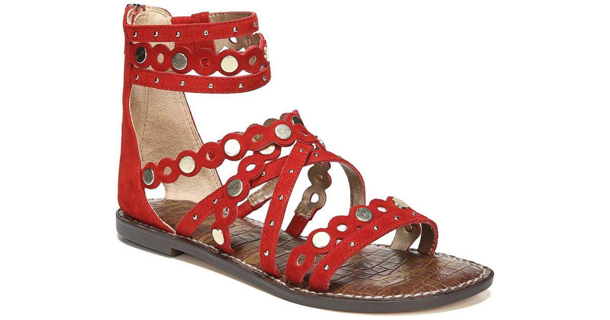 7113e08edd06 Lyst - Sam Edelman Geren Suede Studded Gladiator Sandals