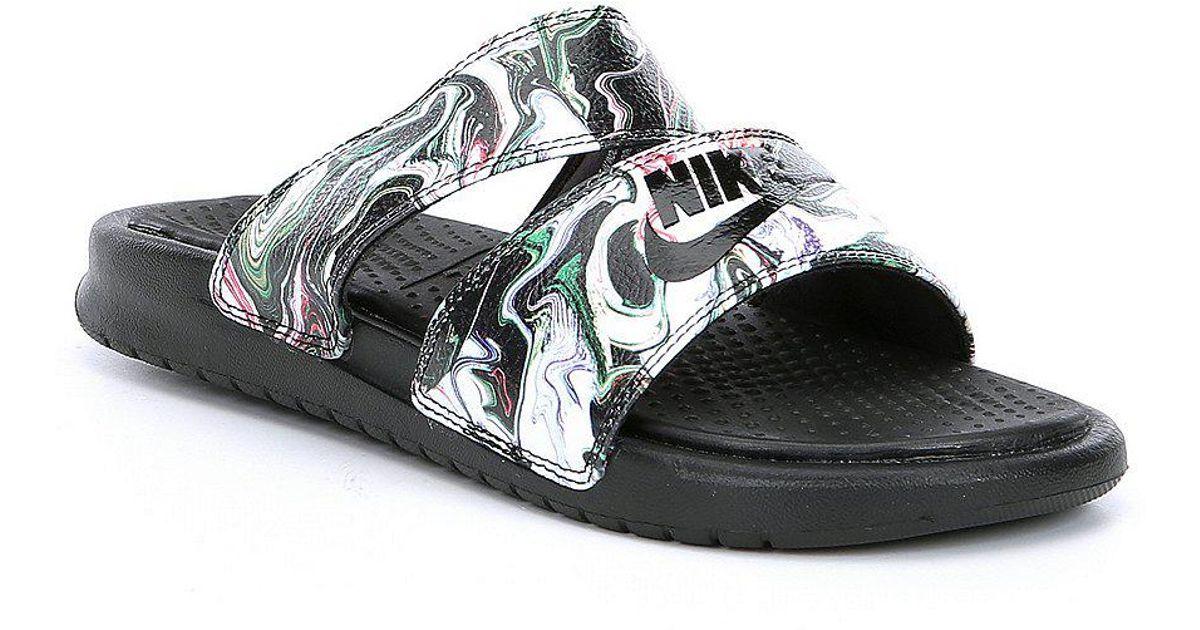 the latest f5f92 49b17 ... shop lyst nike benassi duo ultra slide sandals in black for men 9c0b0  bad1f