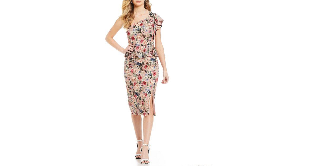eb9ecbea0a Lyst - Gianni Bini Danielle One Shoulder Floral Print Peplum Sheath Dress  in Pink