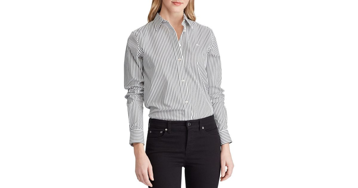 415127e9ff8dc Lyst - Lauren by Ralph Lauren Embroidered Striped Button-down Shirt in Black