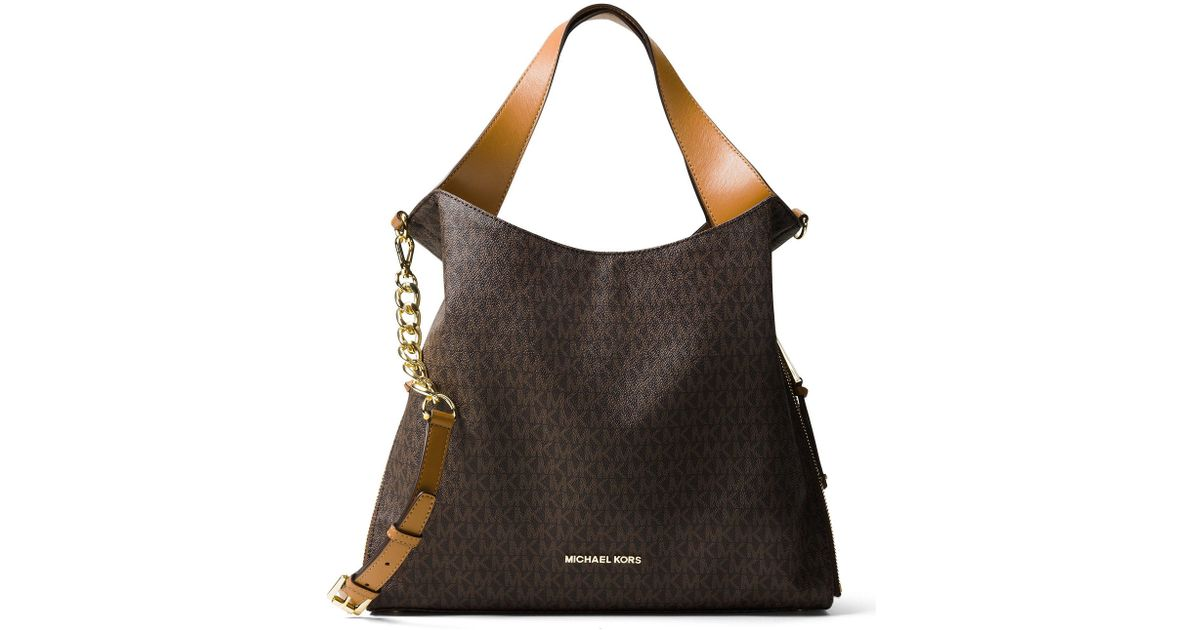 622219aae7a9 MICHAEL Michael Kors Devon Signature Large Tote Bag in Brown - Lyst