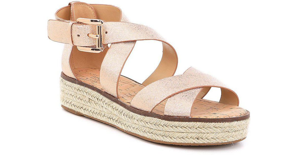 1d76920aff1 Lyst - MICHAEL Michael Kors Darby Metallic Leather Flatform Espadrille  Sandals in Pink