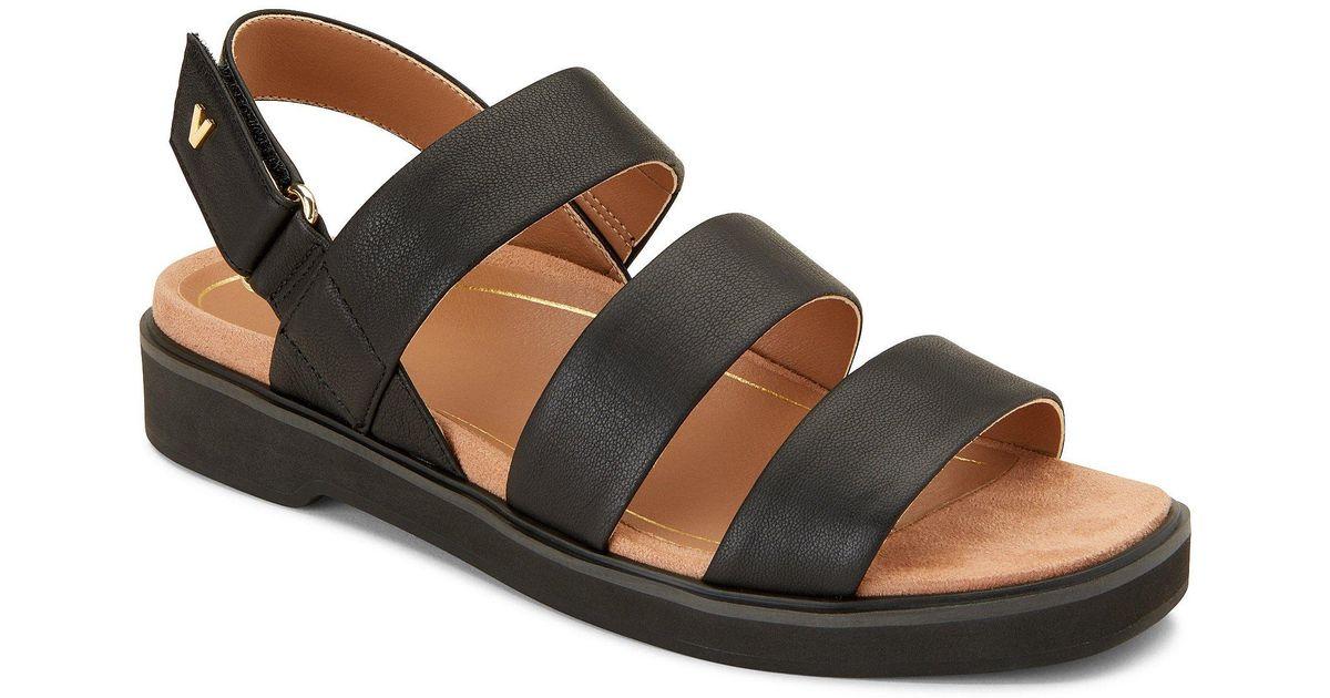 6c896f4d8114 Lyst - Vionic Keomi Leather Block Heel Sandals in Black