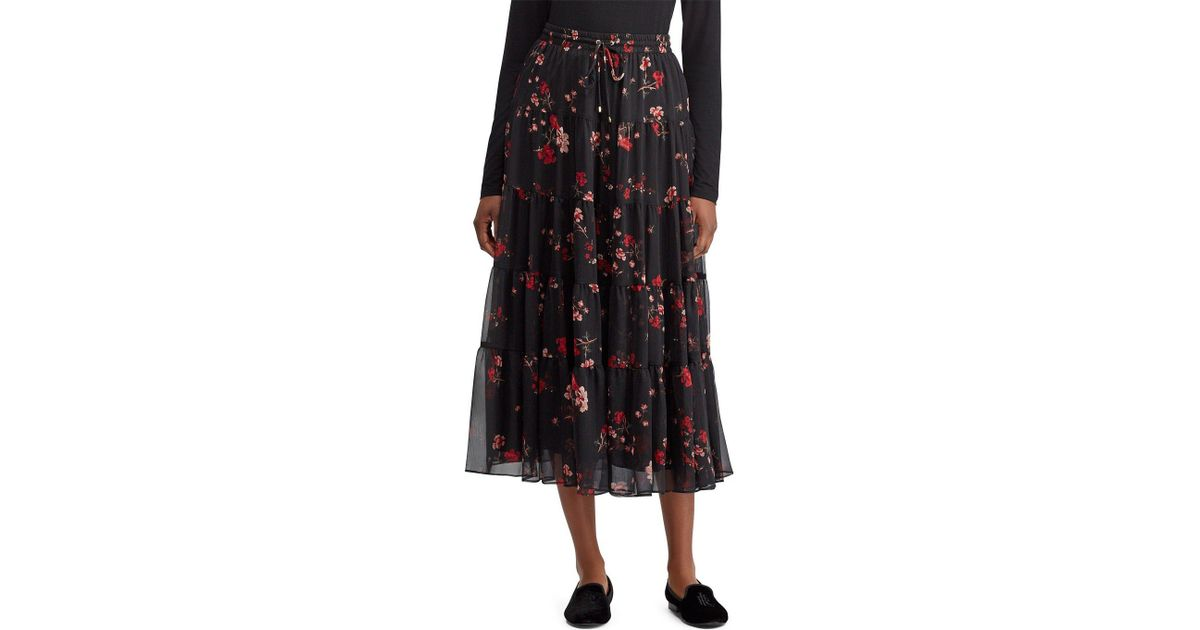 ed6bdec560 Lauren by Ralph Lauren Floral Georgette Peasant Skirt (black Multi) Women's  Skirt in Black - Lyst