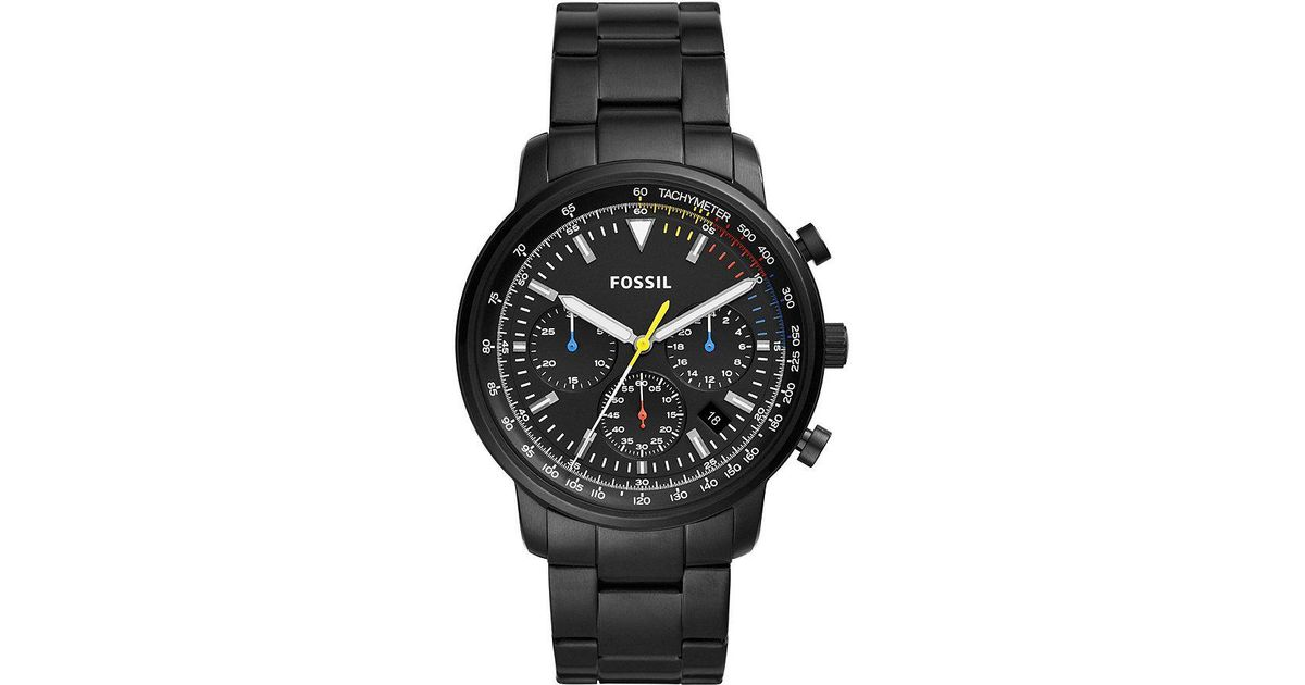810f4cdcd Fossil Goodwin Chronograph Black Stainless Steel Watch in Black for Men -  Lyst