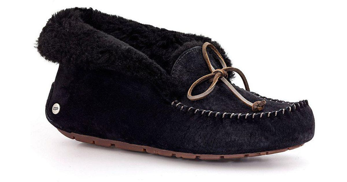 029633aba193 Lyst - UGG Alena Bow Detail Waterproof Suede Slippers in Pink