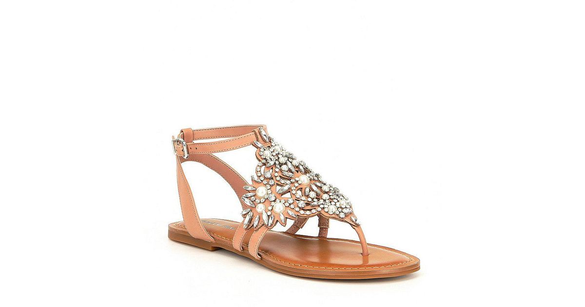 78a2a23e25ac Lyst - Gianni Bini Oliviana Jeweled Pearl Detail Flat Sandals