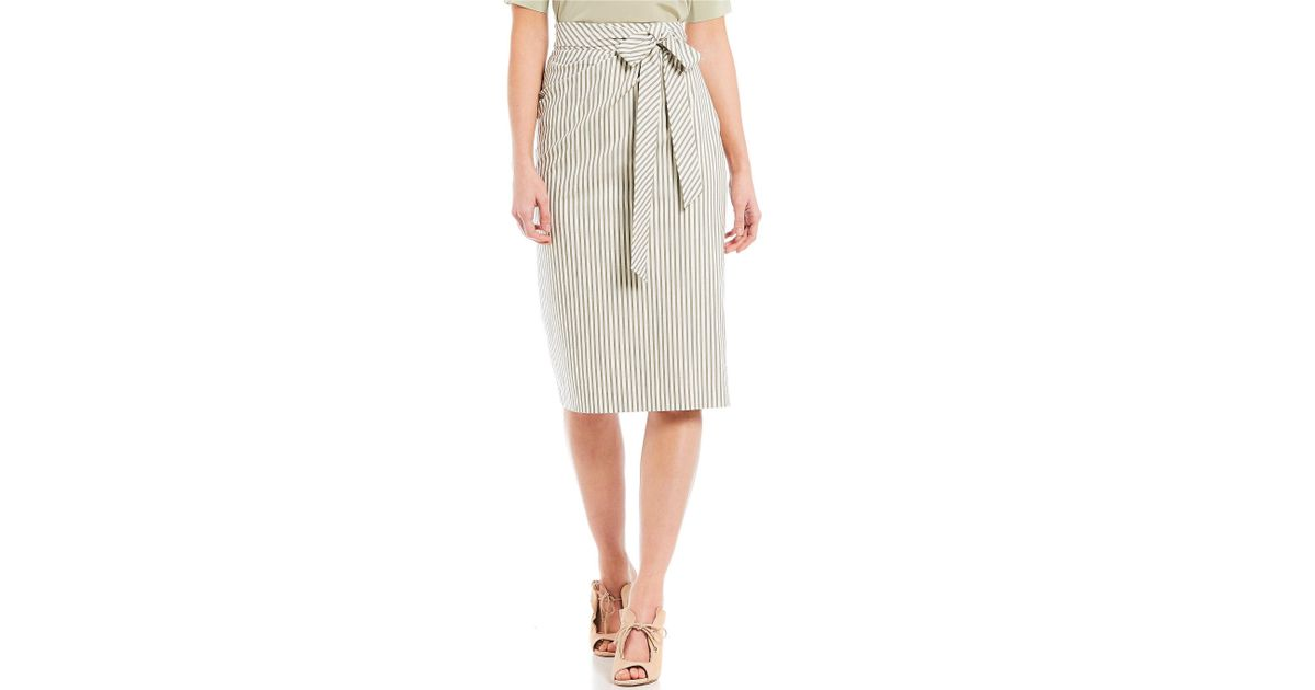 666a6d2afc Lyst - Antonio Melani Parma Striped Tie Waist Midi Length Pencil Skirt in  White