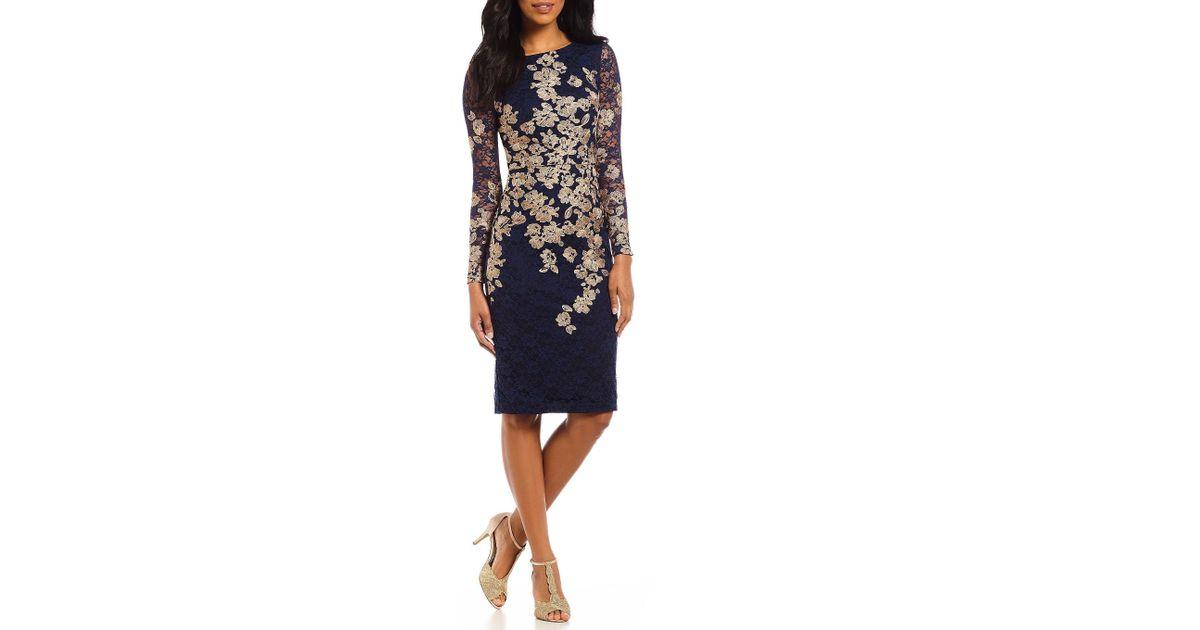 ac561afa487 Lyst - Xscape Petite Embroidered Lace Sheath Dress in Blue - Save 5%