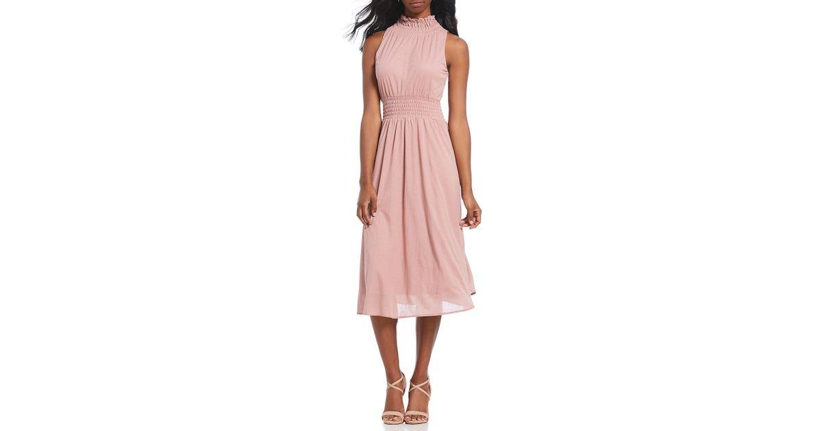 e736e96bf1 Gianni Bini Tessa Knit Mock Neck Sleeveless Midi Dress in Pink - Lyst