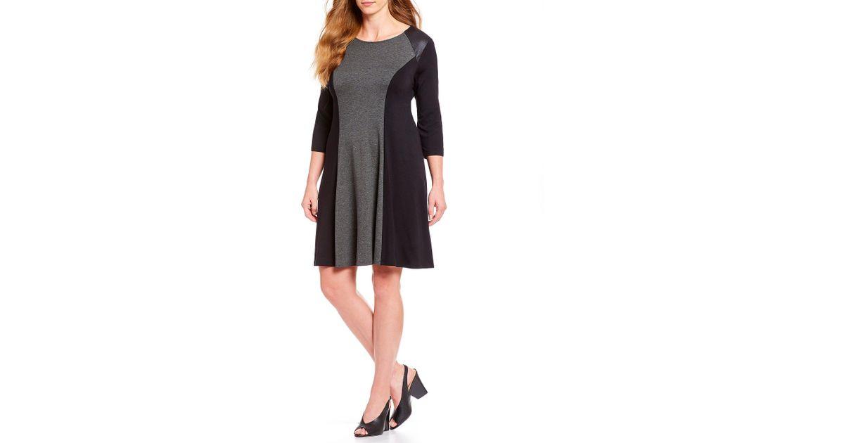 Lyst Karen Kane Plus Size Colorblock Two Toned Dress In Gray