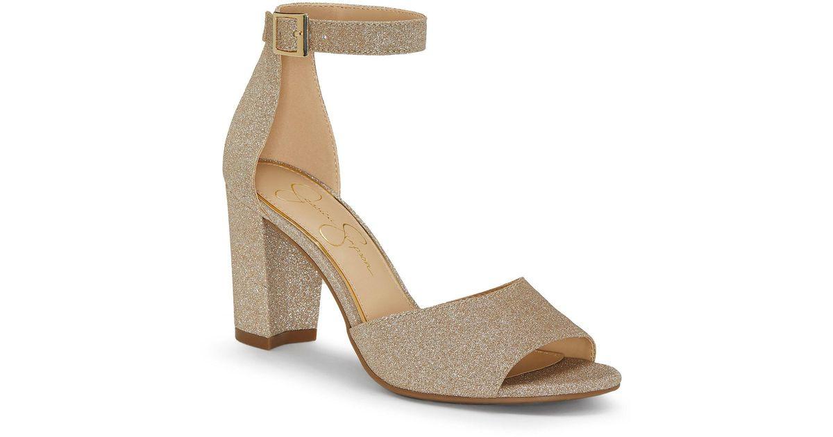 4efc4eb1987 Lyst - Jessica Simpson Sherron Ankle Strap Block Heel Sandals in Metallic