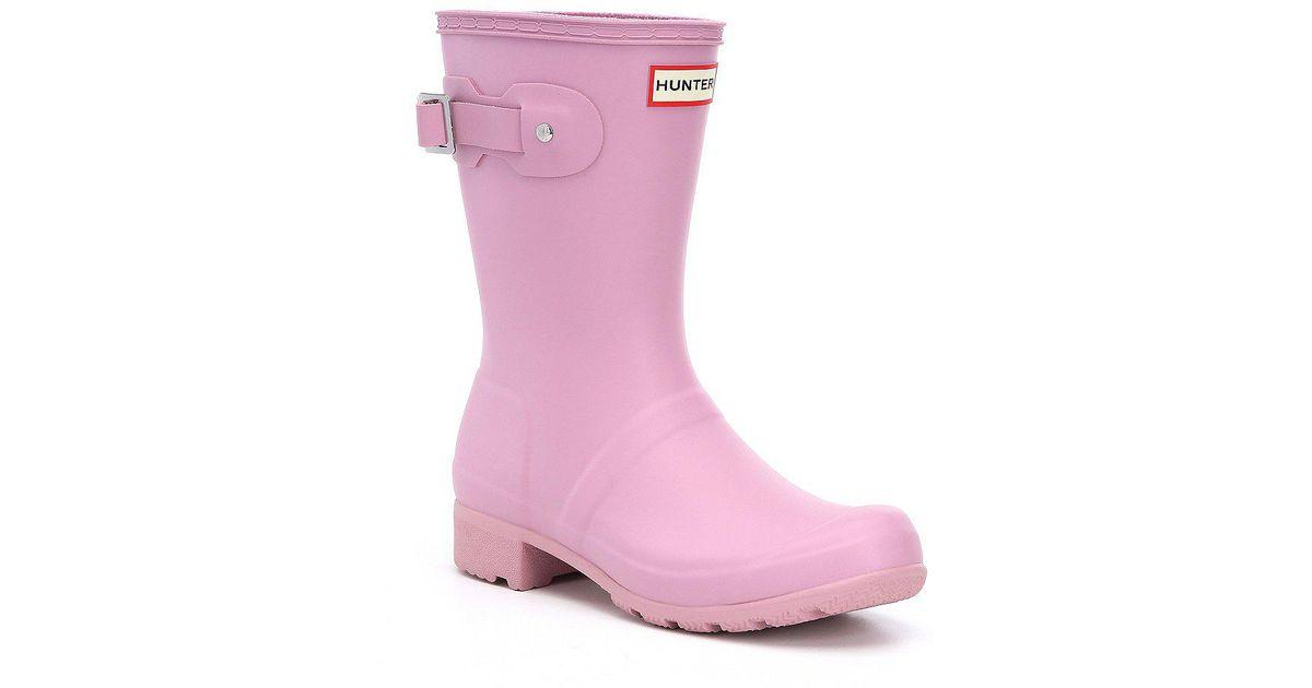 353ceccf959e0 Lyst - HUNTER Women s Original Tour Matte Short Rain Boots in Pink