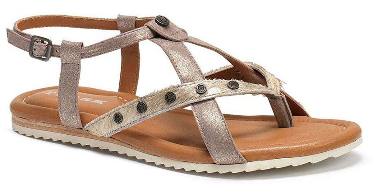 Trask Shayla Metallic Suede Calf Hair Sandals Rh7NA4