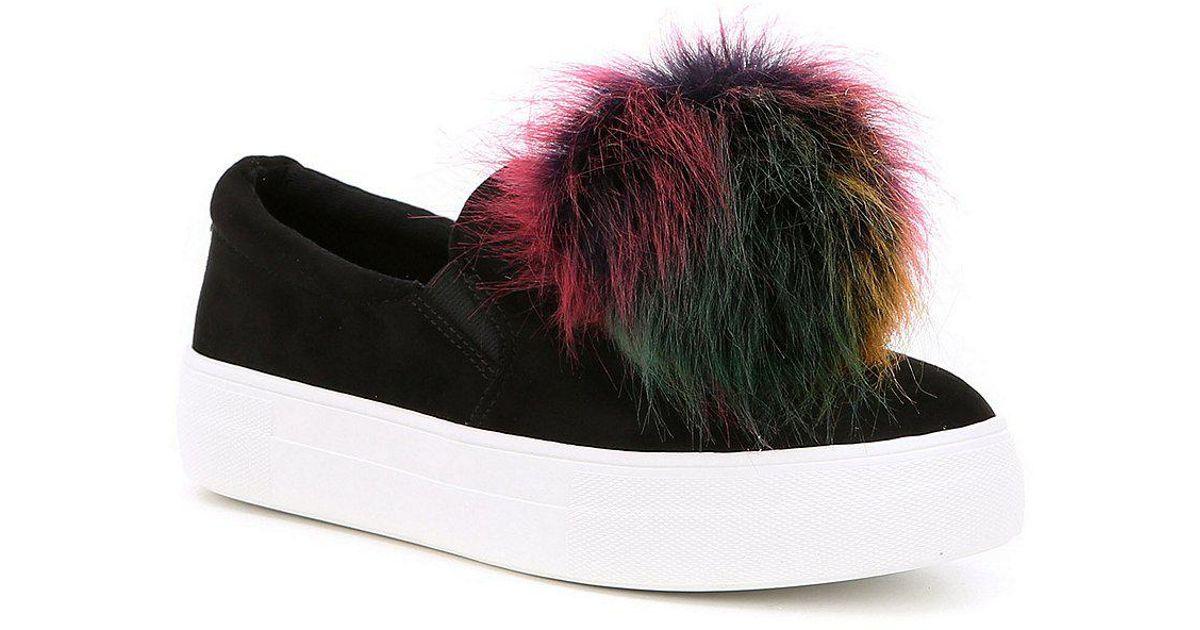 53ac270edd4 Lyst - Steve Madden Great Faux Fur Pom Pom Slip-on Sneakers in Black