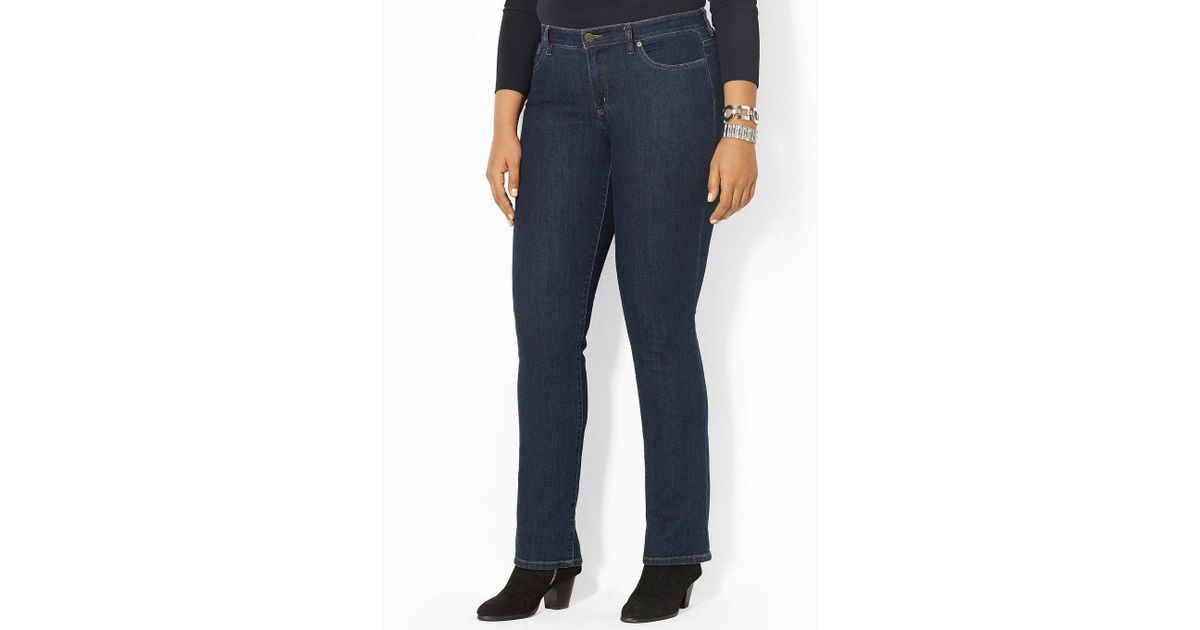 7bd4d2e32cb Lyst - Lauren by Ralph Lauren Plus Super-stretch Slimming Modern Curvy Jeans  in Blue