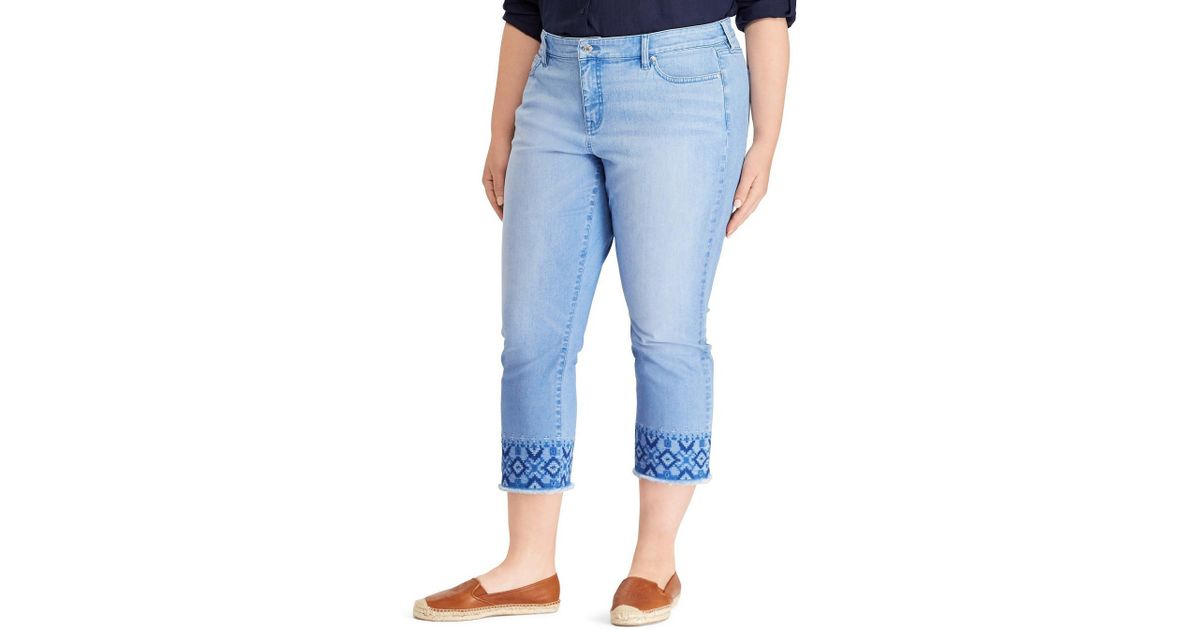 59c184cc35e50 Lyst - Lauren By Ralph Lauren Plus Ultimate Slimming Premier Straight  Cropped Jeans in Blue - Save 74.46808510638297%