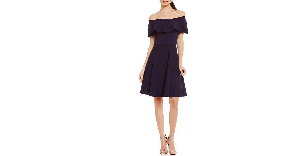 6391b8d50f3 Eliza J - Blue Ruffled Off-the-shoulder Short Sleeve Knit Fit-and-flare  Dress - Lyst