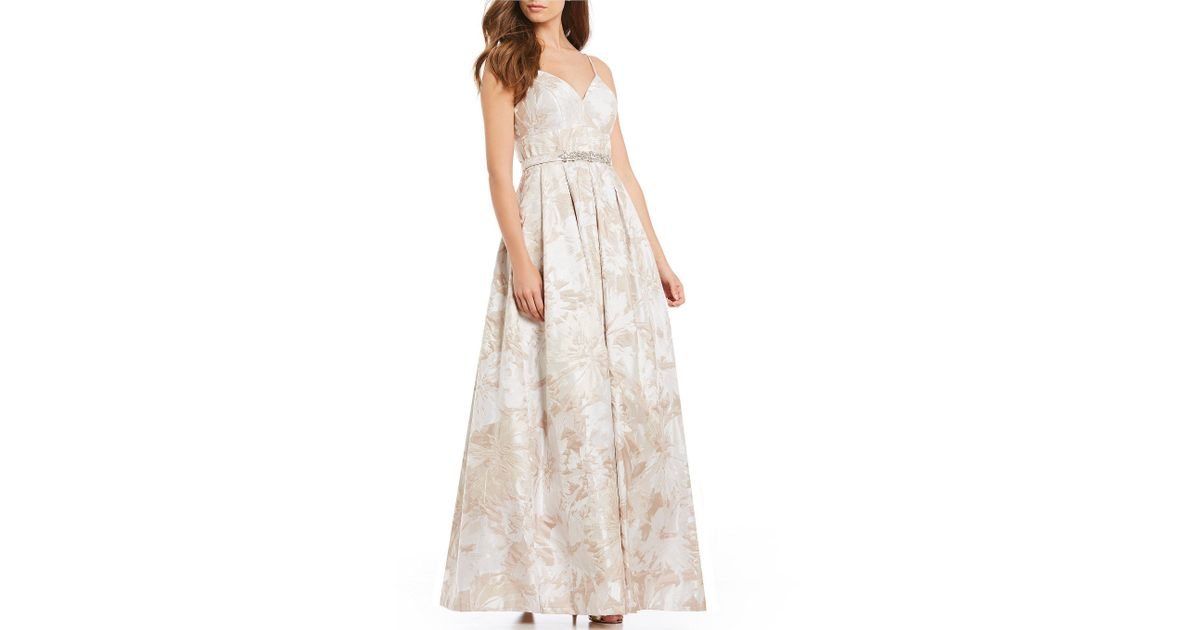 Lyst - Eliza J Jacquard A-line Ball Gown in Natural