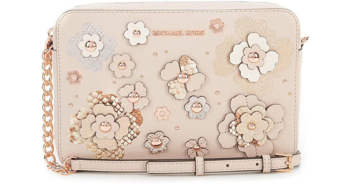 5b1ec78d3fbc Lyst - MICHAEL Michael Kors Floral Applique Large Cross-body Bag