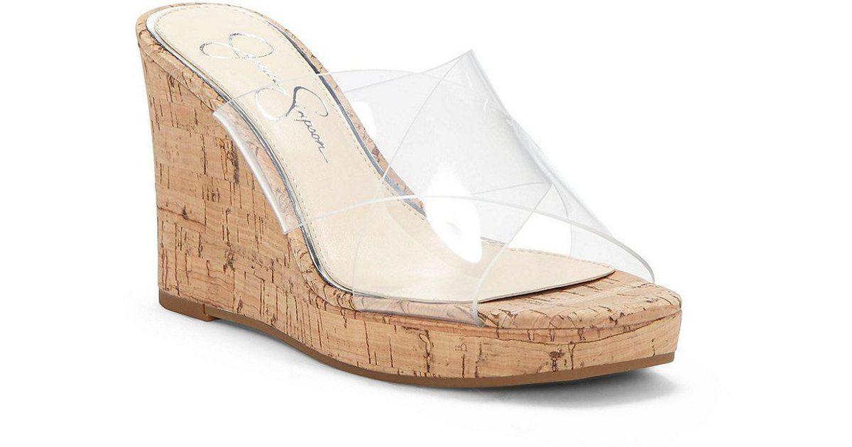 1d2d07e962b Lyst - Jessica Simpson Seena Transparent Vinyl Wedge Sandals