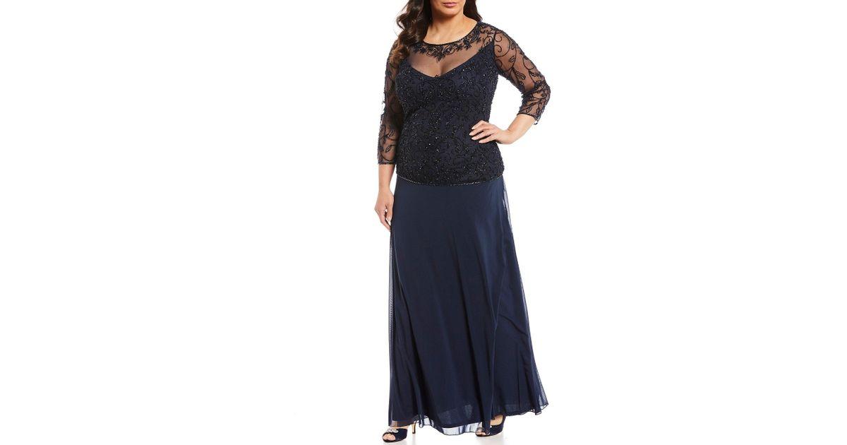 b8b18036f58fb Pisarro Nights Plus Size Beaded Bodice A-line Gown in Blue - Lyst