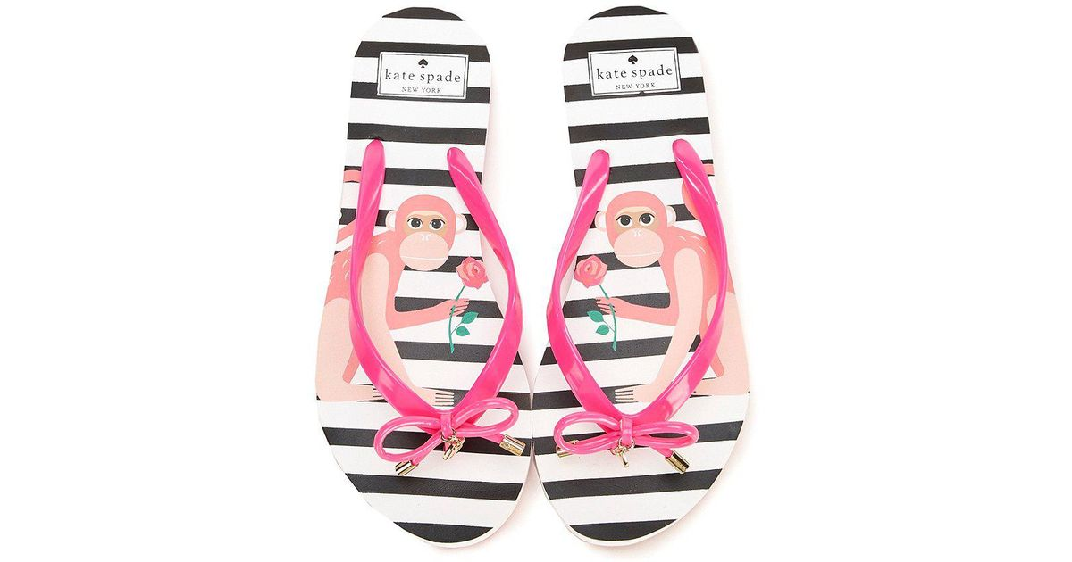 b87635059 Lyst - Kate Spade Nova Monkey Rubber Bow   Charm Thong Flip Flops in Pink
