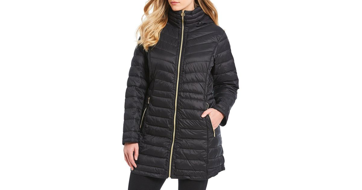 fa2185c76a4 Lyst - MICHAEL Michael Kors Plus Size Puffer Down Packable Detachable Hood  Zip Front Coat in Black