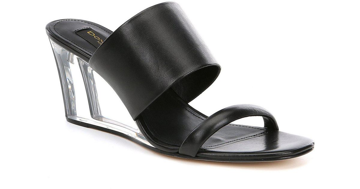 6fff7142b8eb Lyst - Donna Karan Gaby Lucite Wedge Sandals in Black - Save 33%