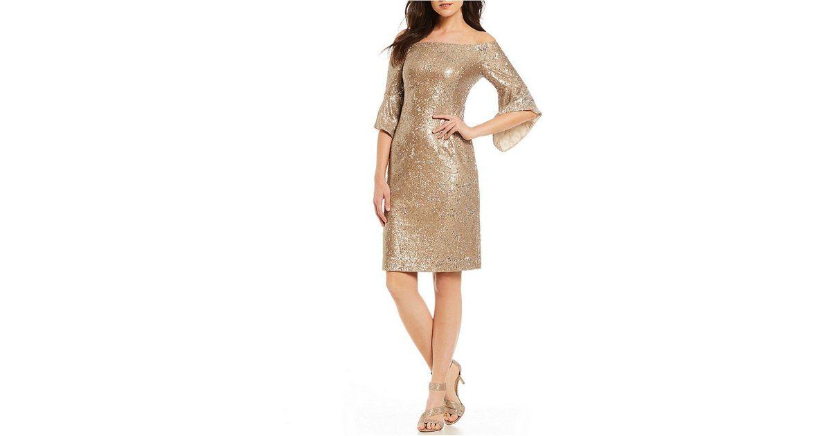 5e5f9e2d06e Antonio Melani Sabo Off The Shoulder Bell Sleeve Sequin Dress in Natural -  Lyst