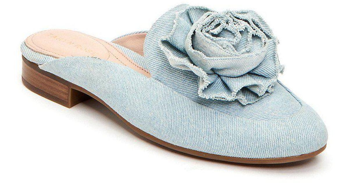 Taryn Rose Blythe Denim Flower Detail Block Heel Mules PA9QQ0ueq1