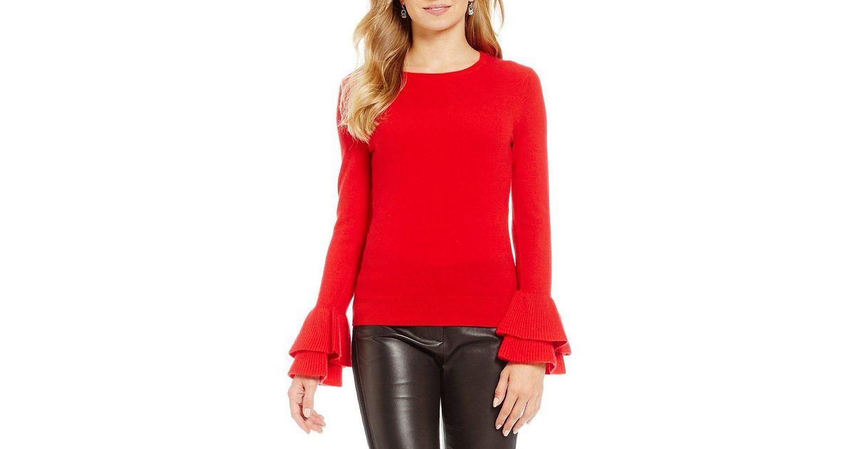 24f58776a36 Antonio Melani Vera Ruffle Sleeve Cashmere Sweater in Black - Lyst