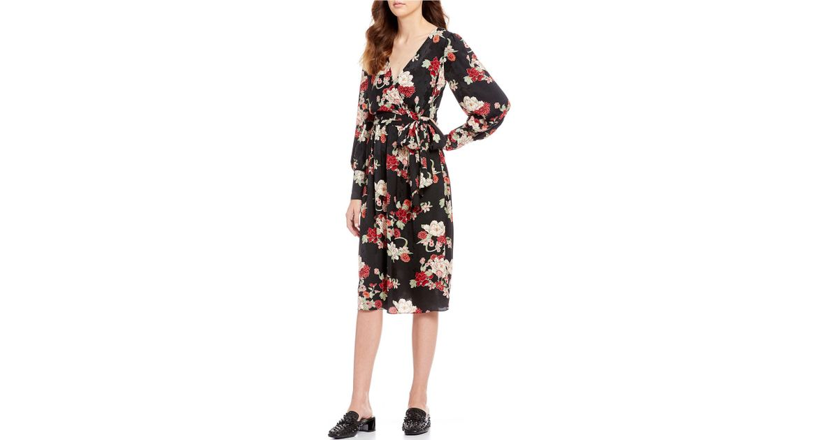 226ca166 Chelsea & Violet Floral Printed Jacquard Wrap Style Midi Dress in Black -  Lyst
