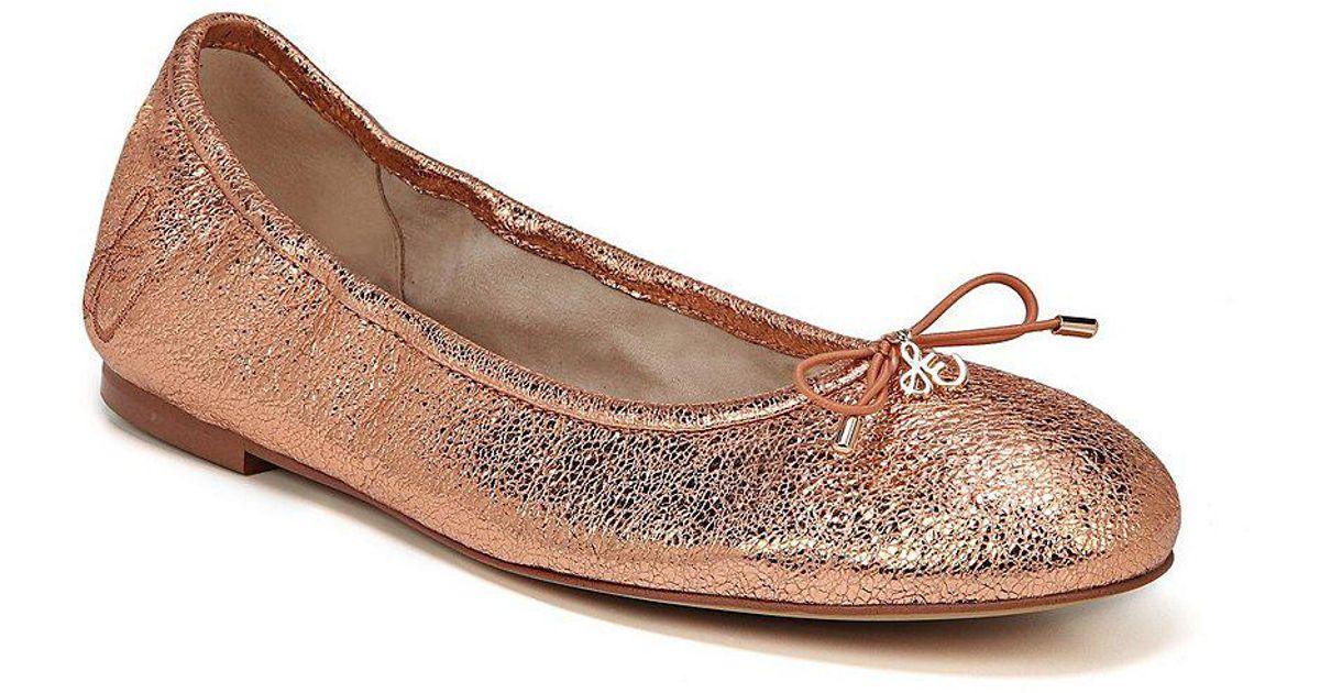 Sam Edelman Felicia Crinkle Metallic Leather Flats Q3DFf9