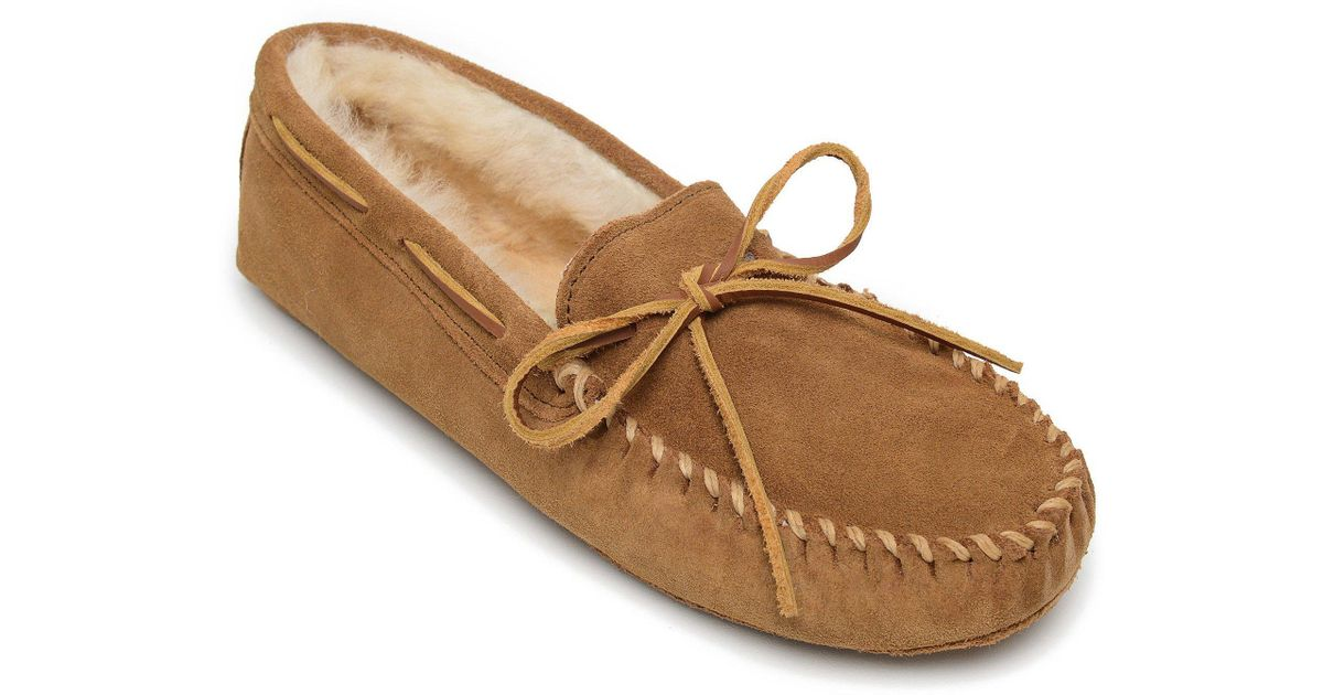 760db53c185 Lyst - Minnetonka Men s Sheepskin Softsole Moccasin Slipper in Brown for Men