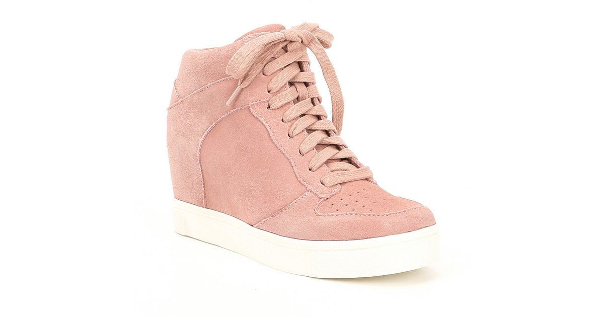 Lyst - Steve Madden Noah Suede Lace Up Wedge Sneakers in Pink
