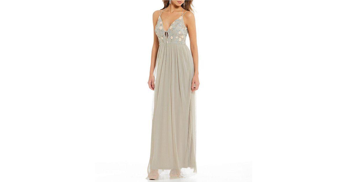 ec20de3c3c Gianni Bini Cara Pleated Gown in Gray - Lyst