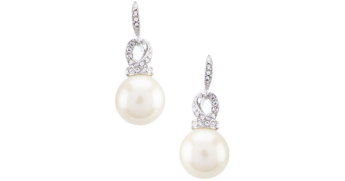 Lyst Carolee Garden Of Pearly Delights Small Drop Pearl Stud Earrings In Metallic
