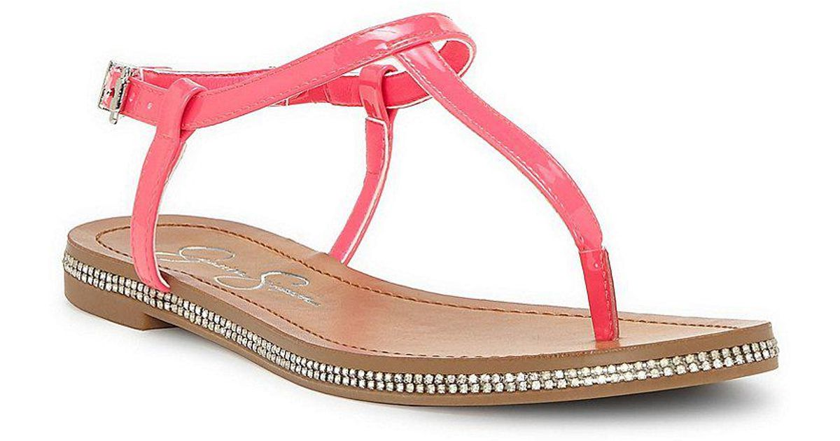 Brimah Patent T-strap Thong Sandals RCChxm